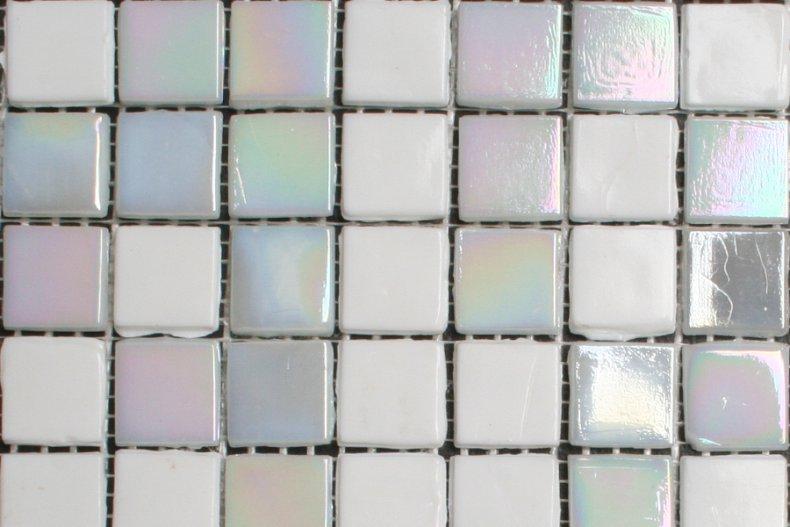 Wonderbaar 15mm glasmozaiek tegels - wit parelmoer mix - Tegelgemak RP-72